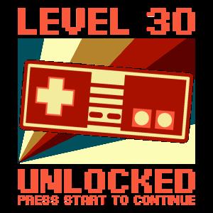 LEVEL 30 UNLOCKED 30 Geburtstag Gamer Controller