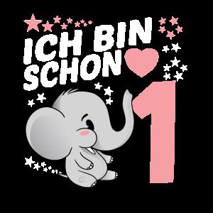 Kinder Geburtstags 1. Geburtstag Elefant