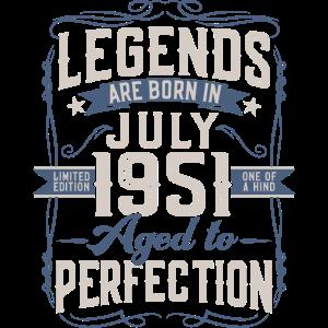 Jahrgang Juli 1951 geboren Legenden Geburtstag