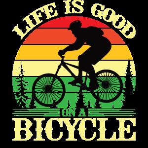 Das Leben ist gut auf einem Fahrrad Fahrradfahrer