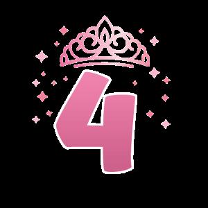 4. Geburtstag 4 Jahre alt Prinzessin Krone