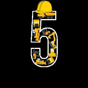 5. Geburtstag 5 Jahre alt - Kran Baustelle