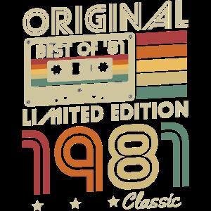 Original 1981 Jahrgang geboren Retro Geburtstag