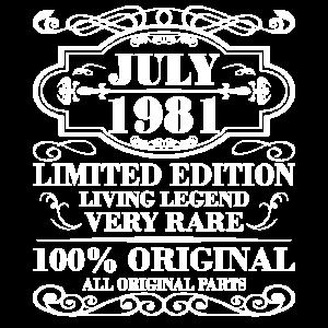 July 1981 Jahr Limited Edition Geburtstag Juli