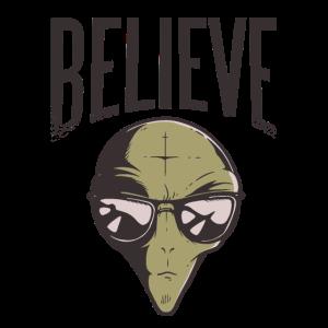 Ufo Alien Believe Spruch