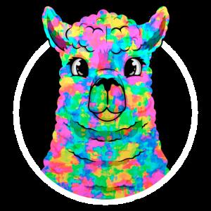 Regenbogen Lamakopf Alpacakopf