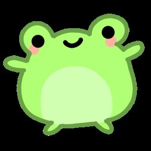 kawaii & happy green frog froggy