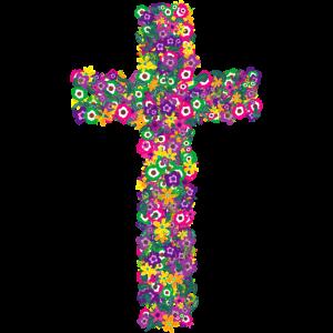 Glaube Kreuz Christus Floral Pop Art