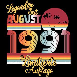 Retro Vintage Legendär Geburtstag August 1991