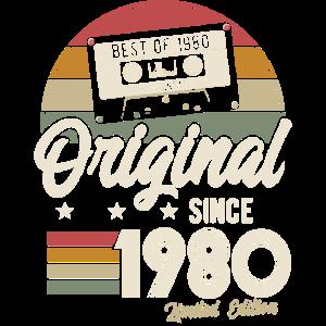 Original seit 1980 Vintage Retro Geburtstag