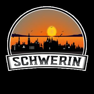 Schwerin Deutschland Skyline Vintage Sonnenuntergang Reise Sou
