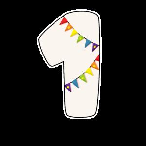 1 Geburtstag 1 Jahr Zahl 1 Mädchen Regenbogen