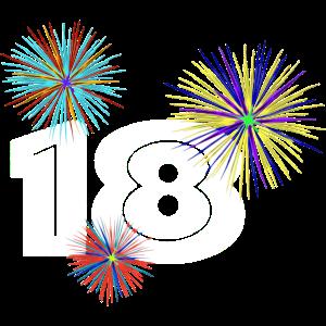 18 mit farbenfrohen Feuerwerk, coole 18 shirts