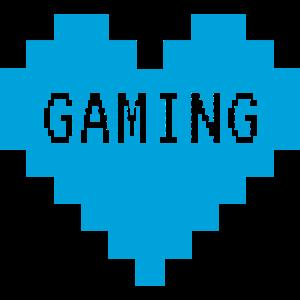 Blaues Pixel Gaming Herz