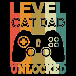 Level Cat Dad Unlocked Gaming New Cat Owner Retro