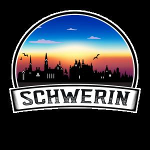Schwerin Deutschland Skyline Vintage Sonnenuntergang Reisen Sou