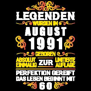 August 1991 - 30. Geburtstag Geschenk Legende