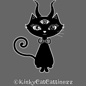 Schwarze Katze mit Teufelshörnern