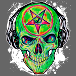 Cool DJ Music Skull green 01