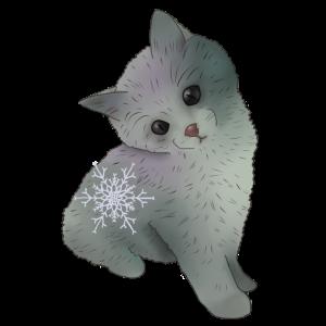Katze mit Schneeflocke