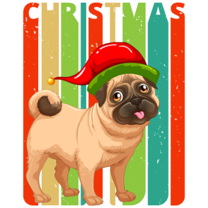 Retro Weihnachtsgeschenke. Mops Welpe. Hundeliebhaber.Familie