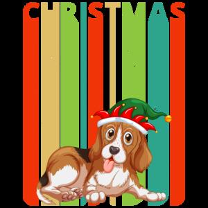 Retro Weihnachtsgeschenke für Freunde und Familie. Hund.