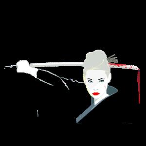 Samurai Frau mit blutigen Katana Schwert T Shirt