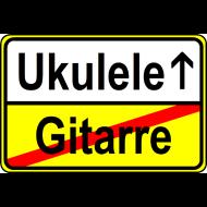 Motiv ~ Ukulele vs. Gitarre (Ortsschild)