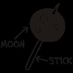 Moon on a Stick (white on dark background)