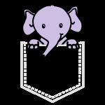 elefant in brusttasche