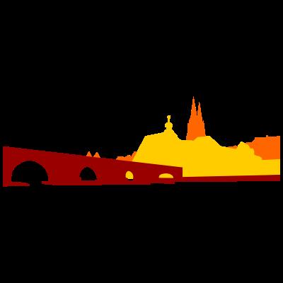 Regensburg - Regensburg-Panorama mit steinerner Brücke - steinerne Brücke,Regensburg,Oberpfalz,Donau,Bayern,Bavaria