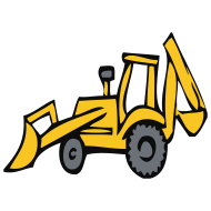 Design ~ Excavator, wheeled loader, crane, building site, Bob, building master, vehicle, truck, truck, dump truck, Gabelstabler, car, construction worker, hammer, compressed air, hydraulics, compressor, outline, pear, outline pear, abort, breakup