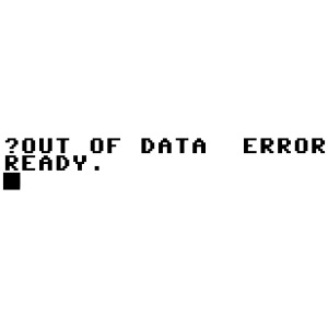 out of data error