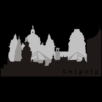 Leipzig Skyline  - Skyline von Leipzig in 3 Schichten - Hochwertige Vektorgrafik - alles von Hand gestaltet - uniriese,skyline,city,Weißheitszahn,Völkerschlacht,Uni,Style,Rathaus,Leipzig,Landgericht,LE,Denkmal