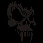 Böser Totenschädel mit Reißzähnen