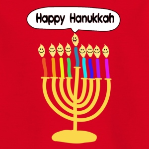 Happy Hanukkah cute cartoon smiley menorah Shirts - Kids' T-Shirt