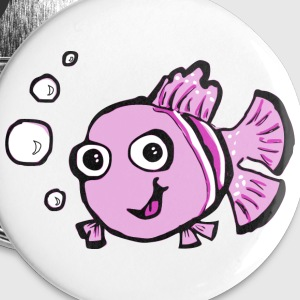 Cute Pink Cartoon Fish Buttons - Buttons medium 32 mm