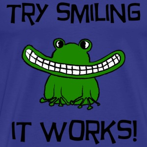 Try Smiling! it works - Mannen Premium T-shirt
