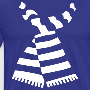Scarf Print Sky Blue Mens-T-Shirt With Stripes - Men's Premium T-Shirt