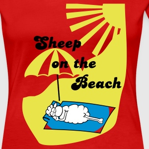 Red Sheep on the beach Women's T-Shirts - Women's Premium T-Shirt