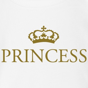 Gin O'Clock Princess Baby Vest - Gold Print - Organic Short-sleeved Baby Bodysuit