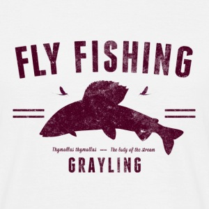Fly fishing grayling, red on white - T-shirt herr