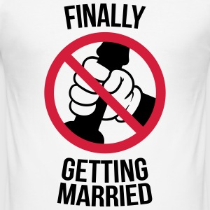 Finally getting married with cock, jerk, wank T-Shirts - Men's Slim Fit T-Shirt