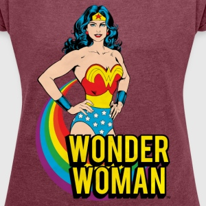 Wonder Woman Rainbow Dame T-Shirt - T-skjorte med rulleermer for kvinner