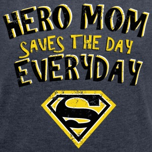Superman Super Hero Mom - Frauen T-Shirt mit gerollten Ärmeln