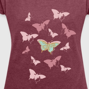 Animal Planet Women T-Shirt Butterfly - Women's T-shirt with rolled up sleeves
