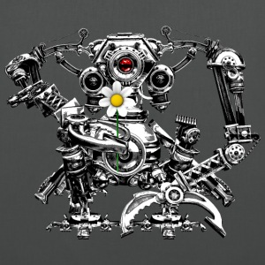 Steampunk/Cyberpunk Robot with a flower Tote Bag - Stoffbeutel