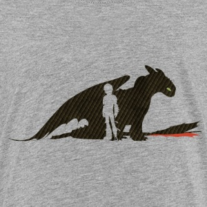DreamWorks Dragons Hiccup & Tothless Silhouette Te - Teenage Premium T-Shirt