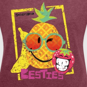 SmileyWorld 'Besties Fruits' women t-shirt - Women's T-shirt with rolled up sleeves