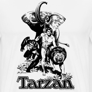 Tarzan with elephant, lion and apes - Men's Premium T-Shirt
